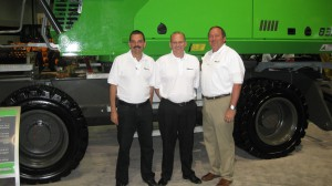 Constantino Lannes (L) and John Van Ruitenbeek (R) of SENNEBOGEN and Bill Schoenfelder, President of The Victor L. Phillips Co. at this year's ISRI show.