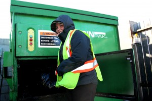 On the coldest day of the year in Hagersville, Ontario, Tim Hortons' team member Jennifer Davey finds taking the garbage out to be a much easier task thanks to the BinPak self-contained garbage compaction bin.