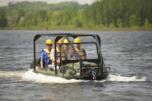 ARGO 8x8 HDi with ROPS  is fully amphibious without vehicle preparation and can carry up to 4 passengers in water.