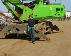 Kari Fletcher, Manager of the Vallejo yard in California with the 825 M that gives them the ability to move about the yard.