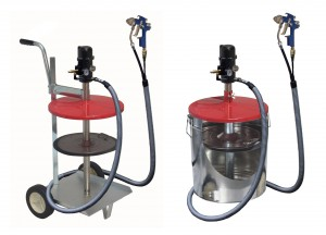 "The pneuMATO55-static and -mobile options come with a unique ""Twin Hose"" to manage both the grease and air supply."