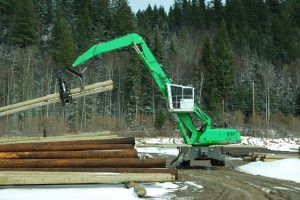 The custom elevated cab on the Stella-Jones machines help operators to load efficiently without damaging poles.