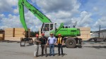 Elmsdale Lumber's team effort to choose the right machine for log-loading duties include: (l-r) Robin Wilber, President; Terry Pickard, Territory Manager for Strongco; Mark Wilber, Vice President; Craig Stewart, Yard Supervisor.